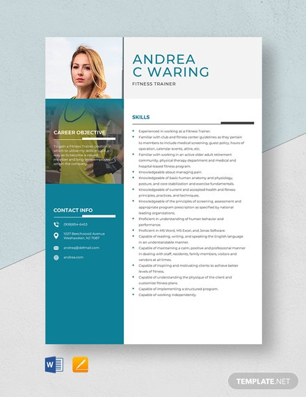 Fitness Trainer Resume Template