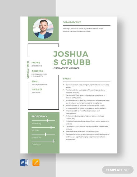 Fixed Assets Manager Resume Template