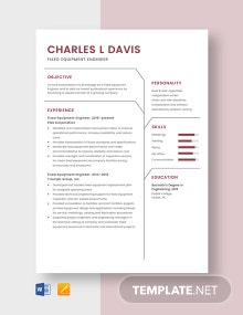 Fixed Equipment Engineer Resume Template