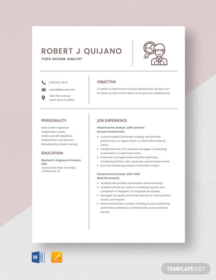 Fixed Income Analyst Resume Template