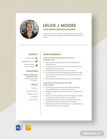 Fixed Income Portfolio Manager Resume Template
