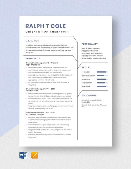 Orientation Therapist Resume Template