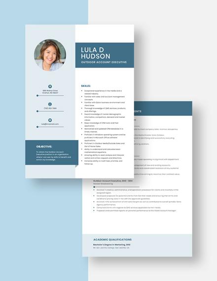 Outdoor Account Executive Resume Download