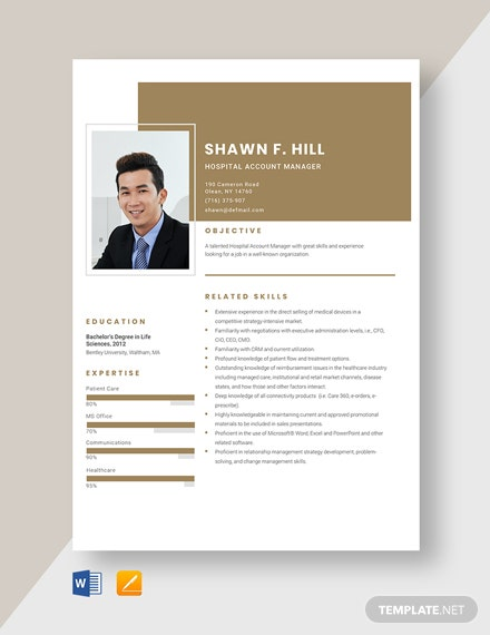 Hospital Account Manager Resume Template