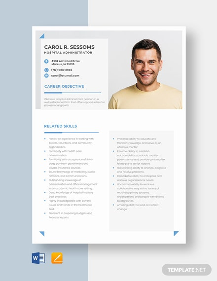 Hospital Administrator Resume Template