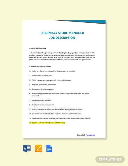 Free Pharmacy Store Manager Job Description Template