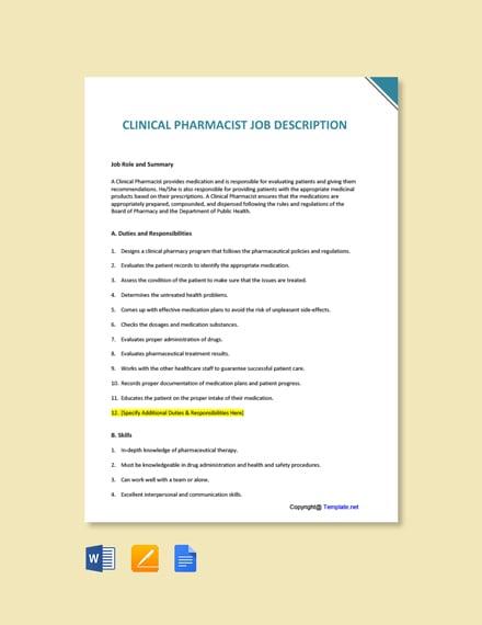 Free Clinical Pharmacist Job Description Template