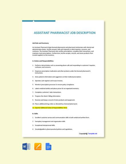 Free Assistant Pharmacist Job Description Template