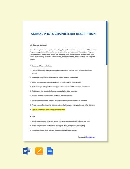 Free Animal Photographer Job Description Template