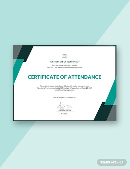 Free Event Attendance Certificate Template Download 378