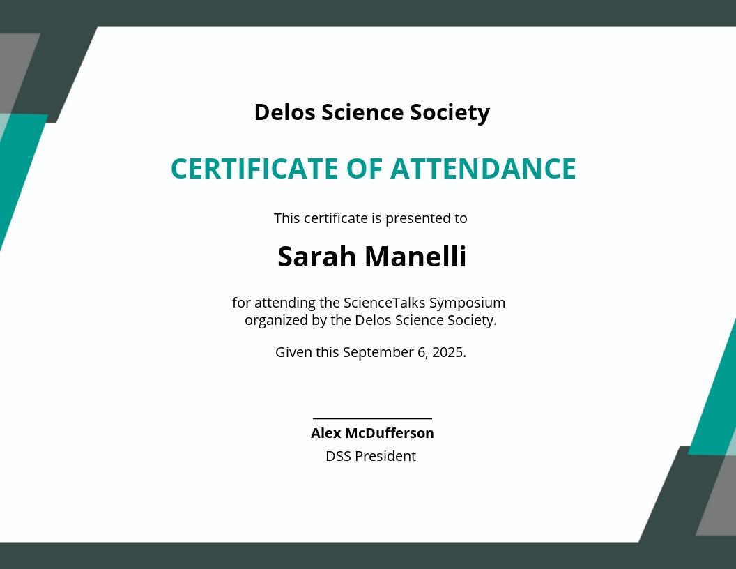 Free Event Attendance Certificate Template