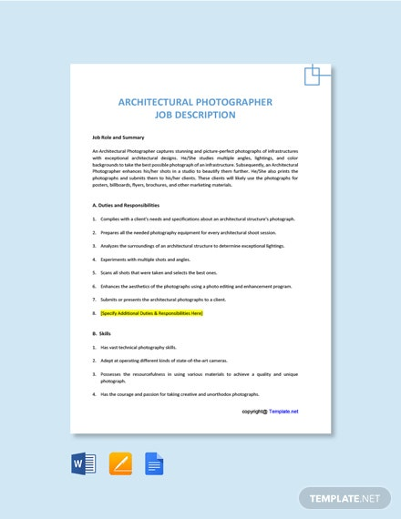Free Architectural Photographer Job Description Template