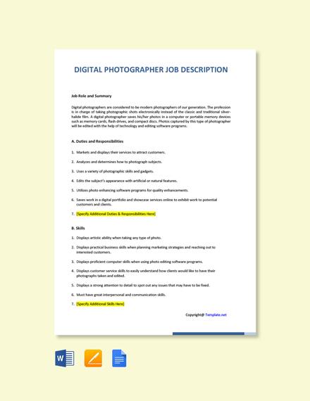 Free Digital Photographer Job Description Template
