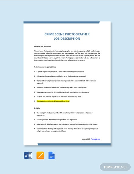 Free Crime Scene Photographer Job Description Template