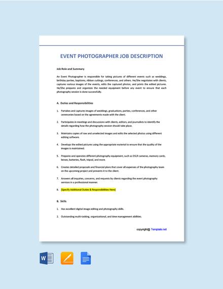 Free Event Photographer Job Description Template