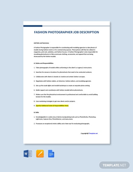 Free Fashion Photographer Job Description Template