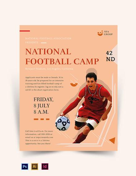 Free Elegant Football Camp Flyer Template