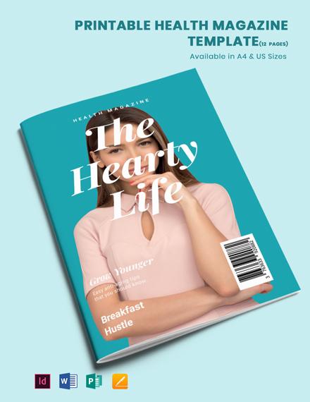 Free Printable Health Magazine Template