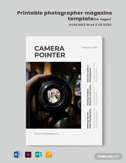 Free Printable Photographer Magazine Template