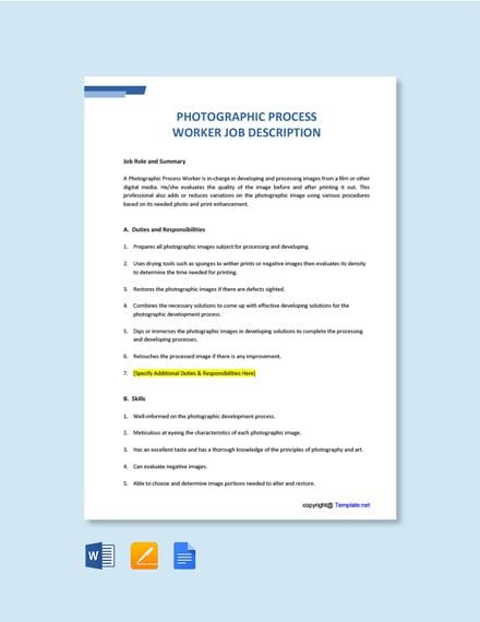 Free Photographic Process Worker Job Description Template