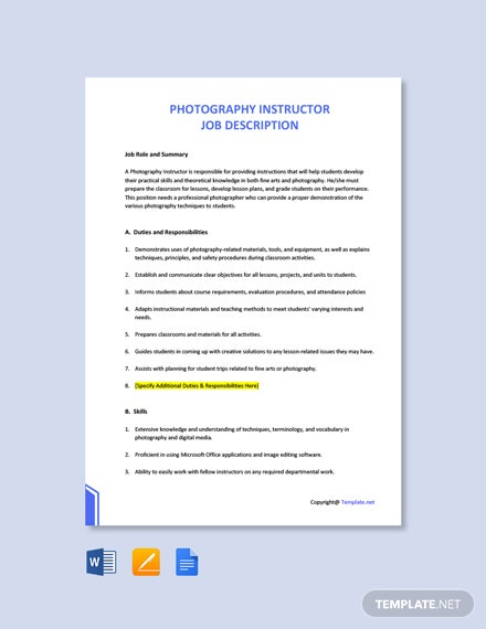 Free Photography Instructor Job Description Template