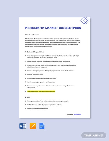 Free Photography Manager Job Description Template