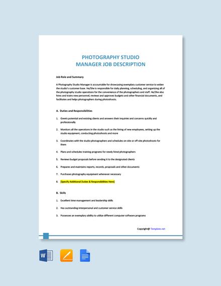 Free Photography Studio Manager Job Ad/Description Template