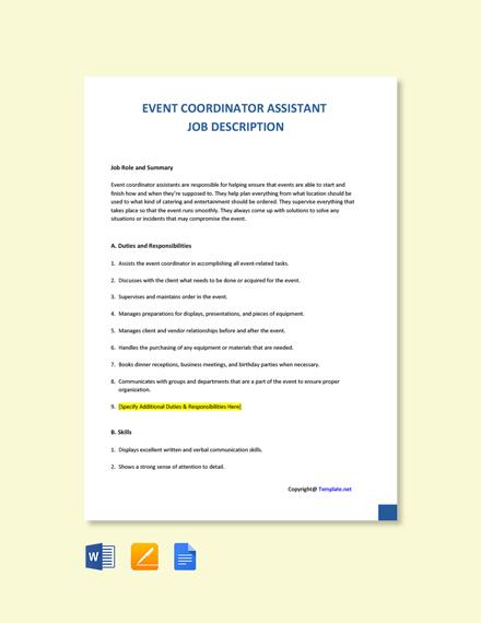 Free Event Coordinator Assistant Job Description Template