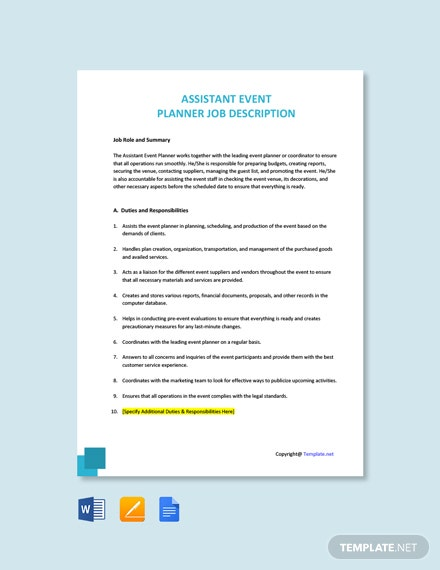Free Assistant Event Planner Job Description Template