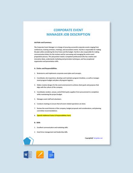 Free Corporate Event Manager Job Description Template