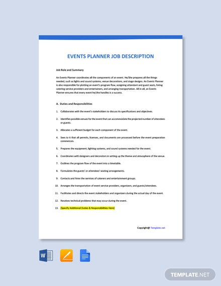 Free Events Planner Job Description Template