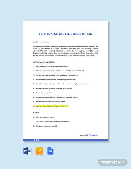 Free Events Assistant Job Description Template
