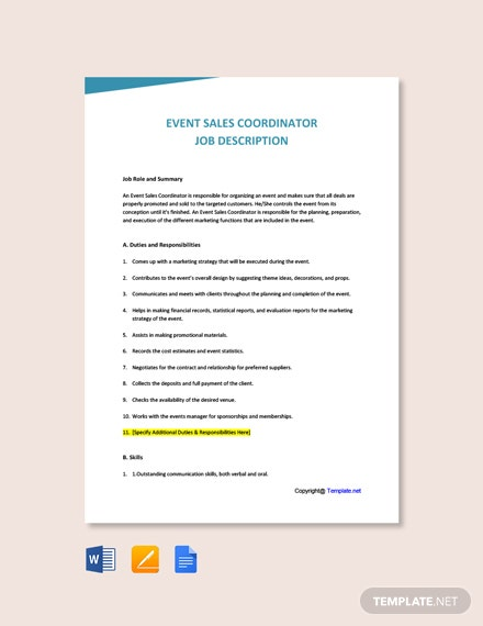 Free Event Sales Coordinator Job Description Template