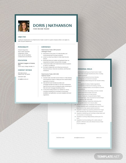 Fixed Income Trader Resume Download
