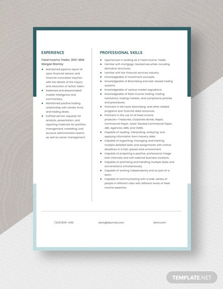 Fixed Income Trader Resume Template