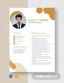 Home Health Manager Resume Template