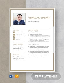 Payroll Manager Resume Template