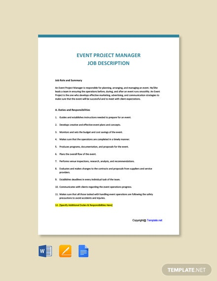 Free Event Project Manager Job Description Template