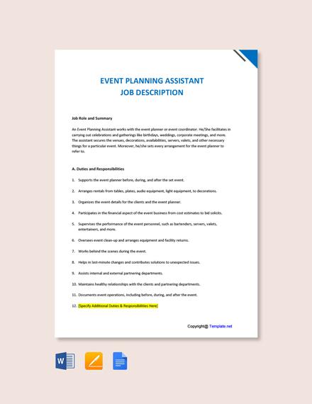 Free Event Planning Assistant Job Description Template