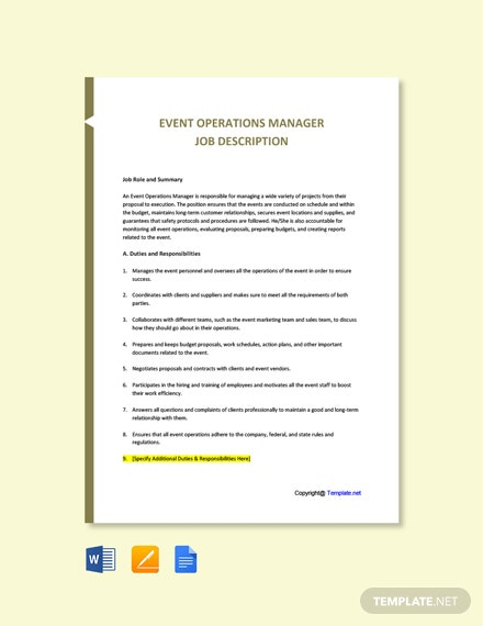 Free Event Operations Manager Job Description Template