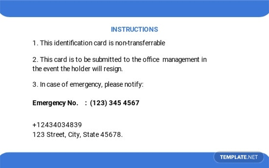 Free Company Blank ID Card Template 1.jpe