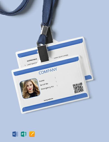 Free Company Blank ID Card Template