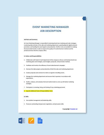 Free Event Marketing Manager Job Description Template