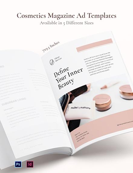 Cosmetics Magazine Ads Template