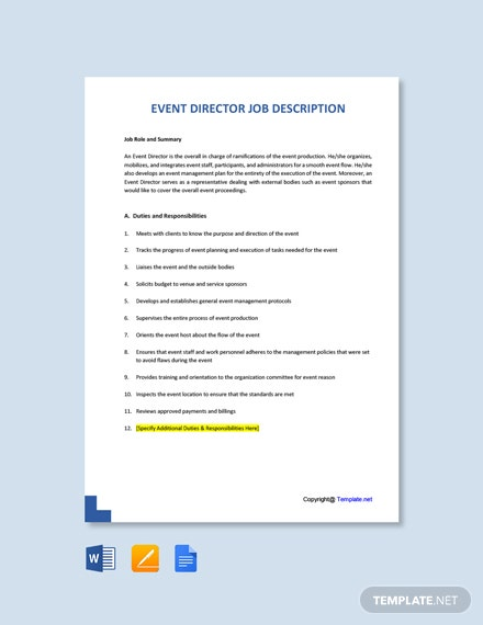 Free Event Director Job Description Template