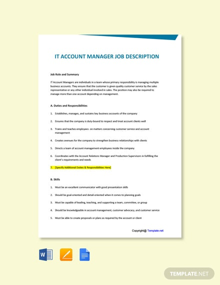 Free IT Account Manager Job Description Template