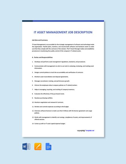 Free IT Asset Management Job Description Template