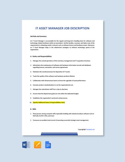 Free IT Asset Manager Job Description Template