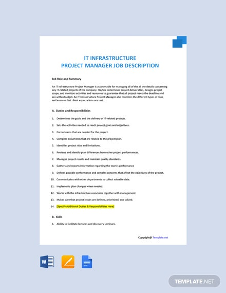 Free IT Infrastructure Project Manager Job Description Template
