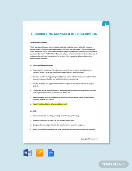 Free IT Marketing Manager Job Description Template